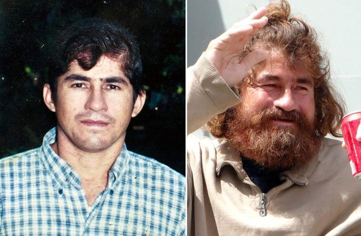 José Salvador Alvarenga avant son départ et après avoir été secouru. (JOSE CABEZAS / HILARY HOSIA / AFP)