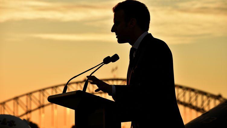 Emmanuel Macron, le 2 mai à Sydney. (PETER PARKS / POOL / AFP POOL)