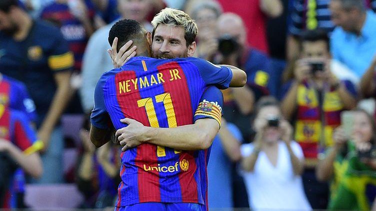 La joie de Messi et Neymar (LLUIS GENE / AFP)
