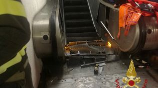 L'écroulement de cet escalator a fait 20 blessés, le 23 octobre 2018 à Rome (Italie). (VIGILI DEL FUOCO / AFP)