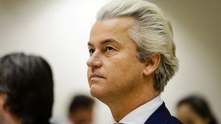 Le député néérlandais d'extrême droite Geert Wilders, le 18 mars 2016, à Schipol, aux Pays-Bas. (REMKO DE WAAL / ANP / AFP)