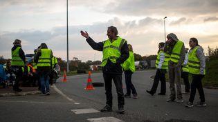 Des manifestants, le 17 novembre 2018, àDinan(Bretagne). (MARTIN BERTRAND / HANS LUCAS / AFP)