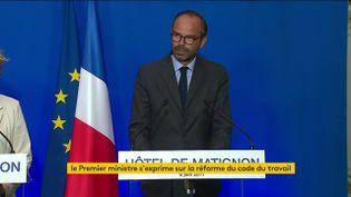 Le Premier ministre, Edouard Philippe, lors de la présentation de la réforme du Code du travail, le 6 juin 2017. (FRANCEINFO)