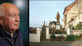 A gauche, Raymond Depardon. A droite, le monument aux morts de Montcavrel, Pas-de-Calais, vu par le photographe  (A gauche, Ginies / SIPA - A droite (c) Raymond Depardon / Rencontres Arles)