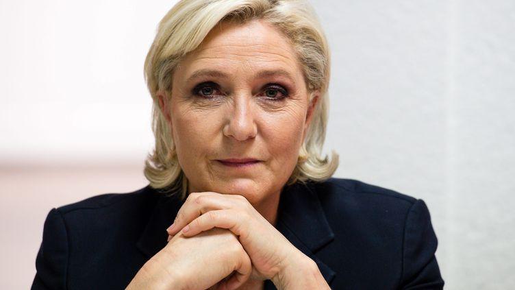 La présidente du FN, Marine Le Pen,lors d'une conférence de presse à Lens (Pas-de-Calais), le 30 mai 2017. (MAXPPP)