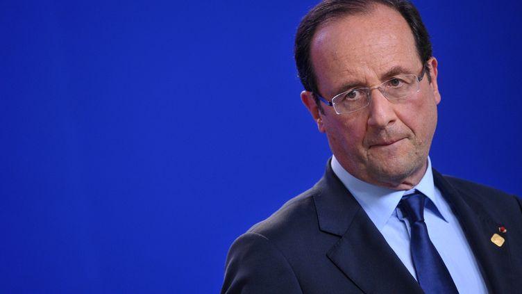 Le président français lors d'une conférence de presse, le 29 juin 2012, à Bruxelles (Belgique). (BERTRAND LANGLOIS / AFP)