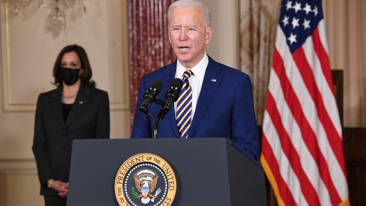 Joe Biden s'exprime sur la politique étrangère, le 4 février 2021, à Washington DC. (SAUL LOEB / AFP)