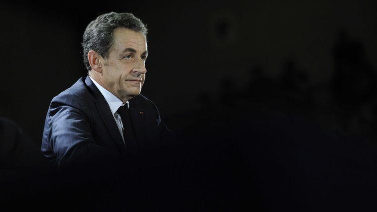 L'ancien président de la République, Nicolas Sarkozy, lors d'un meeting à Saint-Julien-les-Villas (Aube), le 2 octobre 2014. ( WITT / SIPA)