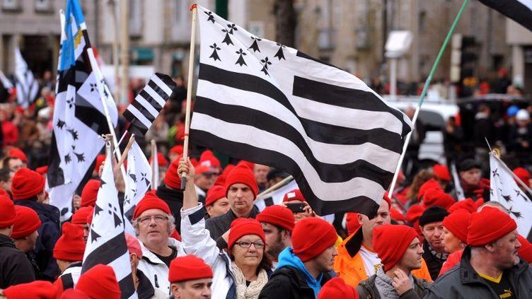 Des manifestants protestent contre l'écotaxe, un bonnet rouge sur la tête, à Quimper (Finistère), le 2 novembre 2013. (FRED TANNEAU / AFP)