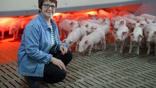 Christiane Lambert, devenue le 13 avril 2017 la première femme présidente de la FNSEA, dans son exploitation de Bouillé-Ménard (Maine-et-Loire), le 31 mars 2017. (MAXPPP)