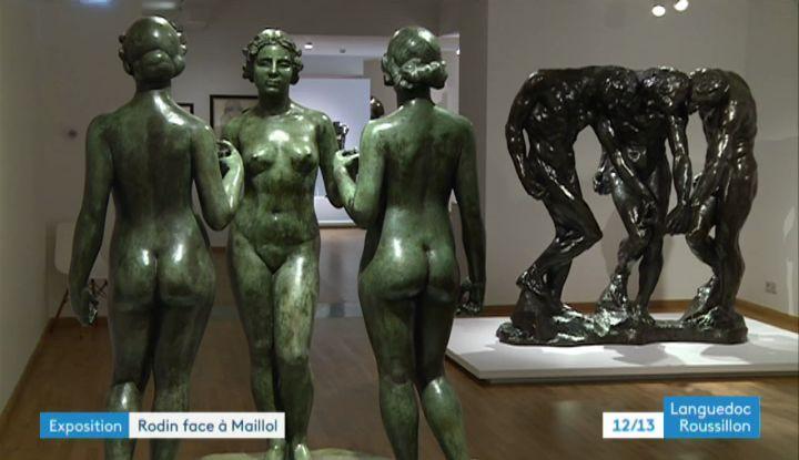 Nymphes de la prairie, un bronze de Maillol (1930) et Les trois Ombresde Rodin (1902). (L. Galy  / France Télévisions)