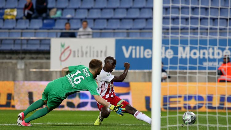 L'attaquant de l'AC.Ajaccio Yoane Wissa  a mis au supplice Prévot le gardien sochalienl  (LIONEL VADAM / MAXPPP)