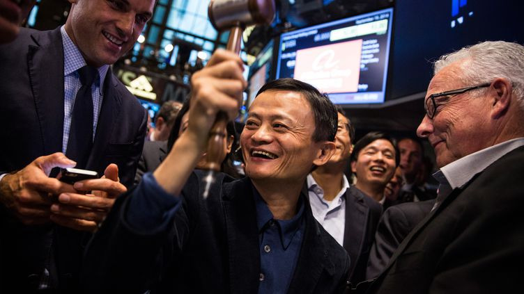 Le PDG d'Alibaba, Jack Ma, le 19 septembre 2014 à New York (Etats-Unis) pour l'introduction en bourse de son groupe. (ANDREW BURTON / GETTY IMAGES NORTH AMERICA / AFP)