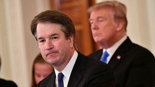 Brett Kavanaugh s'exprime après avoir été nommé par Donald Trumpà la Cour suprême, depuis la Maison Blanche (Washington, Etats-Unis), le 9 juillet 2018. (MANDEL NGAN / AFP)