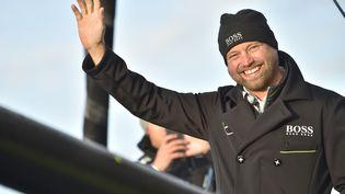 Le skipper britannique Alex Thomson au départ du Vendée Globe, le 6 novembre 2016. (LOIC VENANCE / AFP)