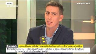 """L'auteur de l'enquête """"Mon président est en voyage d'affaires"""" diffusée en septembre 2015 dans le magazine """"Cash Investigation"""" sur France 2,Laurent Bernard, le 4 septembre 2017. (FRANCEINFO / RADIOFRANCE)"""