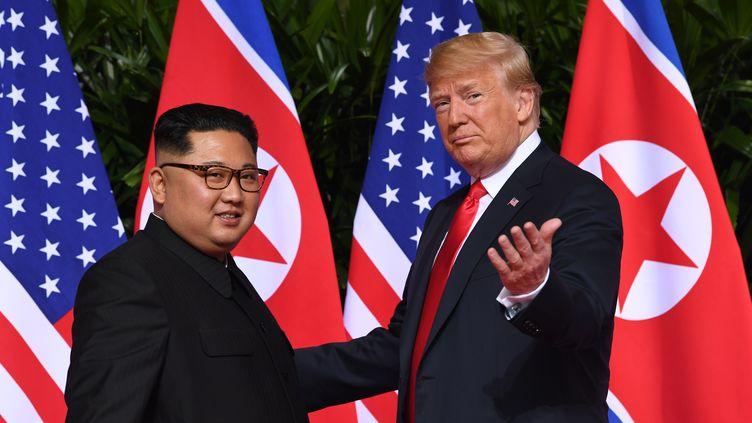 Kim Jong-un et Donald Trump, avant le sommet de Singapour, le 12 juin 2018. (SAUL LOEB / AFP)