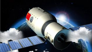 Illustration chinoise présentant le laboratoire spatial Tiangong-1. (GIP / IMAGINECHINA / AFP)