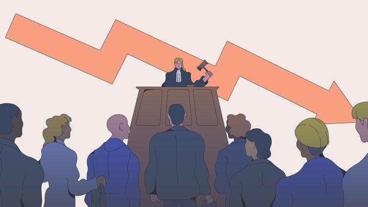 Franceinfo a épluché des centaines de bulletins du Bodeacc, qui recense les convocations des entreprises devant le tribunal de commerce. (JESSICA KOMGUEN / FRANCEINFO)