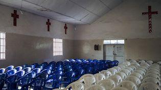 L'église protestante de la Communauté Baptiste au Centre de l'Afrique (CBCA) à Goma en RDC est désertée à cause du coronavirus. (ALEXIS HUGUET / AFP)