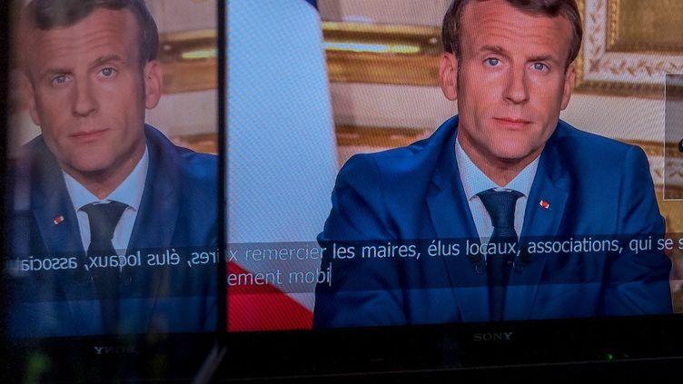 Le président de la République, Emmanuel Macron, le 13 avril 2020, lors de sa quatrième allocution sur la crise du coronavirus. (OMAR HAVANA / HANS LUCAS)