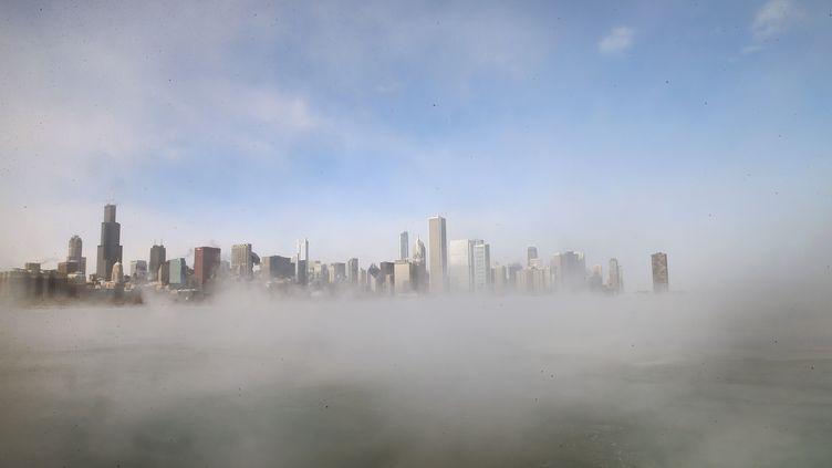 La ville de Chicago (Illinois, Etats-Unis) masquée par un épais brouillard causé par le froid polaire, le 6 janvier 2014. (SCOTT OLSON / GETTY IMAGES NORTH AMERICA / AFP)