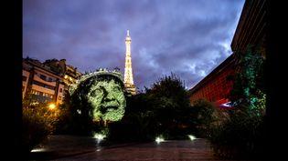 Visage d'indien de Philippe Echaroux projeté dans le jardin du quai Branly à Paris (S. Garat / Philippe Echaroux / France Télévisions)