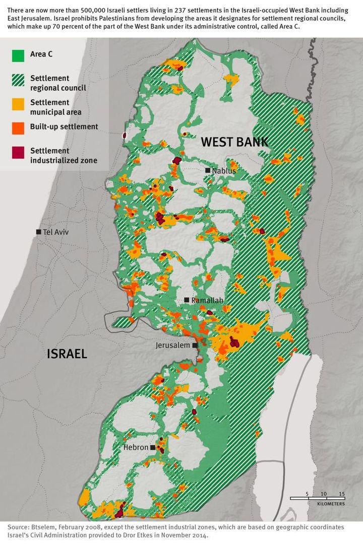 Carte de la Cisjordanie et des colonies (HRW)