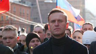 L'activiste anti-corruption russe Alexeï Navalny lors d'un rassemblement commémorant les 5 ans de l'assassinat de l'opposant Boris Nemtsov à Moscou (Russie), le 29 février 2020. (SHAMIL ZHUMATOV / REUTERS)