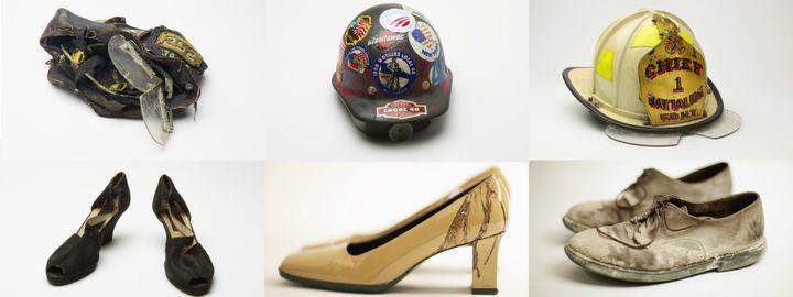 Des chaussures et du matériel de pompiers trouvés dans les décombres du World Trade Center, et désormais exposés auMémorial et musée du 11-Septembre. (REUTERS)