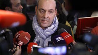Laurent Berger, secrétaire général de la CFDT, s'exprime face à la presse, le 11 décembre 2019, à Paris. (THOMAS SAMSON / AFP)