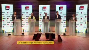 Les cinq candidats à la primaire écologiste, le 5 septembre 2021, dans l'auditorium de la Maison de la radio, à Paris. (FRANCEINFO)