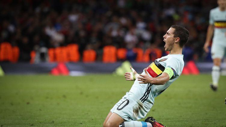 Eden Hazard exulte après son but face à la Hongrie (BRUNO FAHY / BELGA MAG)
