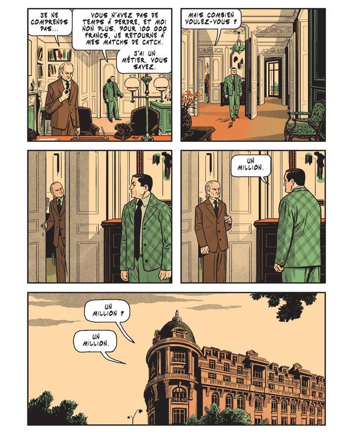 """Page intérieure de """"Lino Ventura, l'oeil de verre"""", Arnaud Le Gouëfflec et Stéphane Oiry (Stéphane Oiry / Glénat)"""
