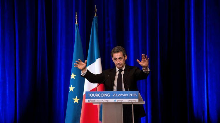 Le président de l'UMP, Nicolas Sarkozy, tient un discours à Tourcoing (Nord), le 29 janvier 2015. (PHILIPPE HUGUEN / AFP)