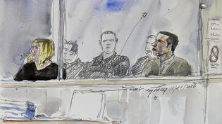 Illustration du procès de l'affaire Fiona, réalisée le 14 novembre 2016. (BENOIT PEYRUCQ / AFP)