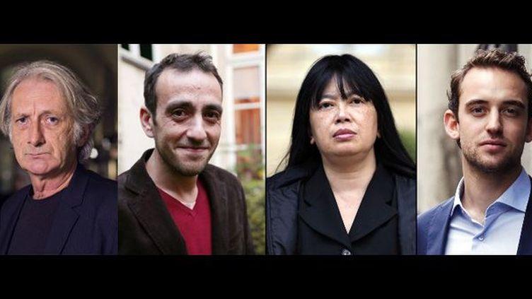 De gauche à droite, Patrick Deville, Jérôme Ferrari, Linda Lê et Joël Dicker ont été sélectionnés pour le Goncourt 2012  (AFP)