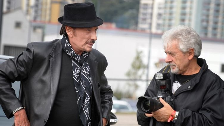 Johnny Hallyday et Daniel Angeli en 2008 à Saint-Etienne (Loire)  (JEAN-PHILIPPE KSIAZEK / AFP)
