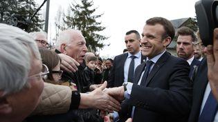 Emmanuel Macron arriveauCentre de formation des apprentis (CFA) des Compagnons du devoir et du Tour de France, à Tours (Indre-et-Loire), mercredi 14 mars 2018. (AFP)