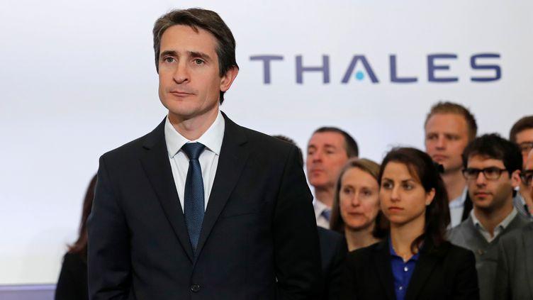 Patrice Caine, PDG du groupe Thales, au siège du groupe à Gennevilliers (Hauts-de-Seine), le 28 avril 2016. (BENOIT TESSIER / REUTERS)