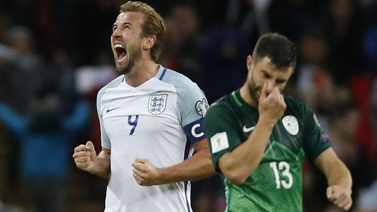 La joie de Harry Kane, buteur pour l'Angleterre contre la Slovénie (IAN KINGTON / AFP)