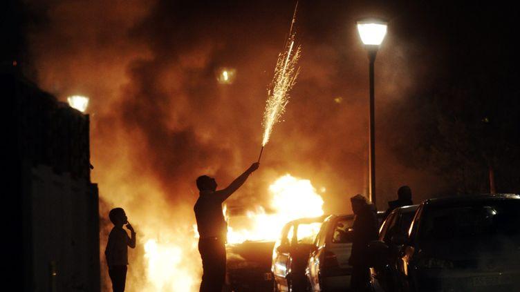 Un homme tient un feu d'artifice dans sa main, devant des voitures incendiées, le 1er janvier 2014, à Strasbourg (Bas-Rhin). (  MAXPPP)