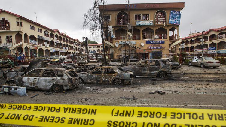 Un centre commercial d'Abuja, capitale du Nigeria, après un attentat qui a fait 21 morts lors du match Nigeria-Argentine de la Coupe du monde, le 26 juin 2014. (AFOLABI SOTUNDE / REUTERS)
