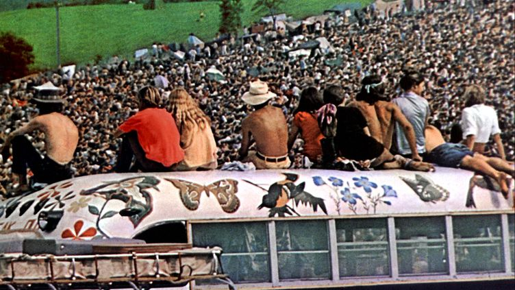 "Extrait du documentaire ""Woodstock"" de Michael Wadleigh, sorti en 1970 et retracant l'histoire du festival culte de la culture hippie.  (WADLEIGH MAURICE / COLLECTION CHRISTOPHEL / AFP)"