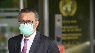 Le directeur général de l'OMS, Tedros Adhanom Ghebreyesus, le 24 mai 2021 à Genève (Suisse). (LAURENT GILLIERON / AFP)