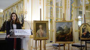 Les trois tableaux volés par les nazis et restituées aux descendants des propriétaires légitimes, le 11 mars 2014, lors d'une cérémonie au ministère de la Culture à Paris (MARTIN BUREAU / AFP)
