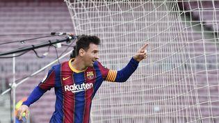 Lionel Messi avec Barcelone face au Celta Vigo, en Liga, le 16 mai 2021. (PAU BARRENA / AFP)