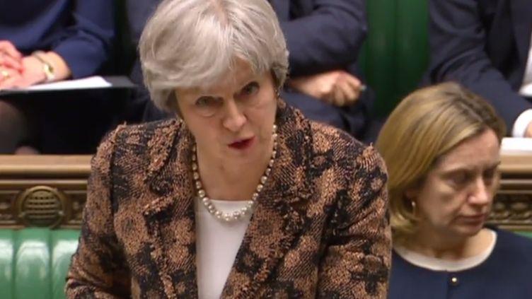Theresa May, devant le Parlement britannique, le 12 mars 2018. (HO / PRU / AFP)