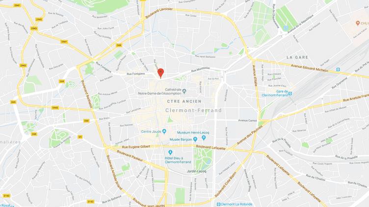 Carte de localisation de la place Gaillard à Clermont-Ferrand. (GOOGLE MAPS)