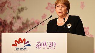 La haut-commissaire des Nations unies aux droits de l'homme, Michelle Bachelet, à l'occasion de la World Assembly for Women, à Tokyo (Japon), samedi 23 mars 2019. (CHARLY TRIBALLEAU / AFP)